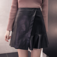 Photos 2017 New Female Irregular Leather Skirt Body A