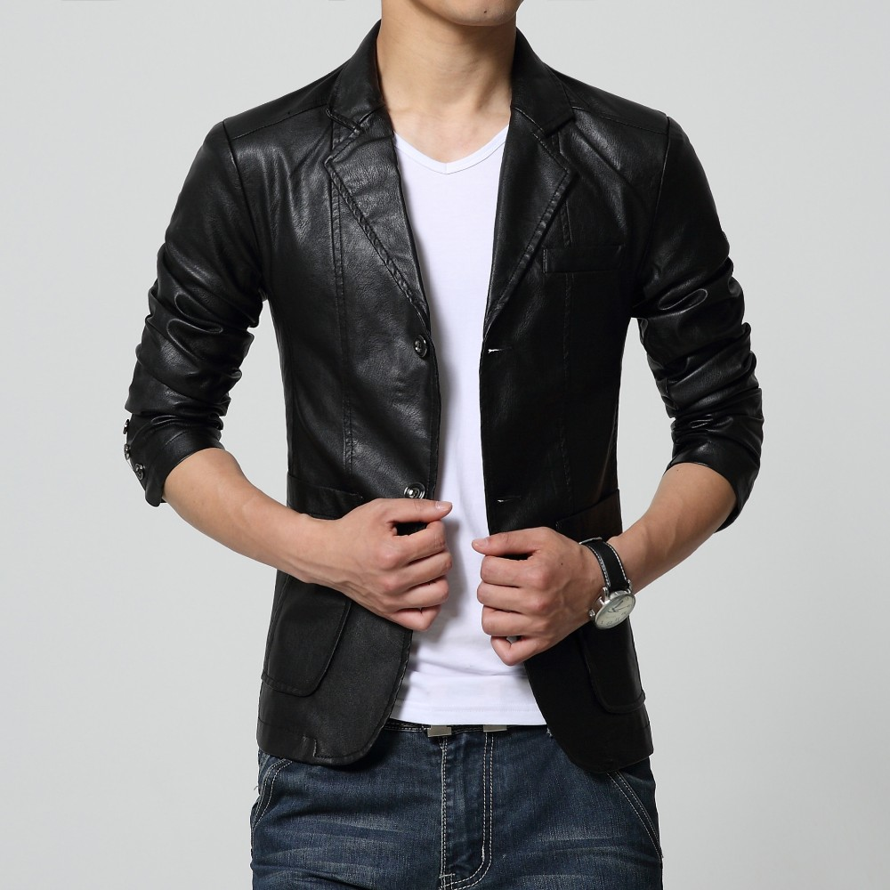 2018 new arrival blazer men PU faux leather Slim coat brand ...