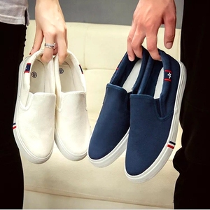 Image 1 - 2019 весна лето дышащая мужская повседневная обувь, мужские лоферы, холщовая обувь на шнуровке, модная обувь унисекс на плоской подошве, женская обувь 35 47