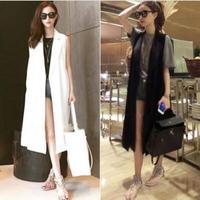 Womens Long Vest Sleeveless Coat Slim Fit Lapel Collar Outwear European Style Women Vests Black White