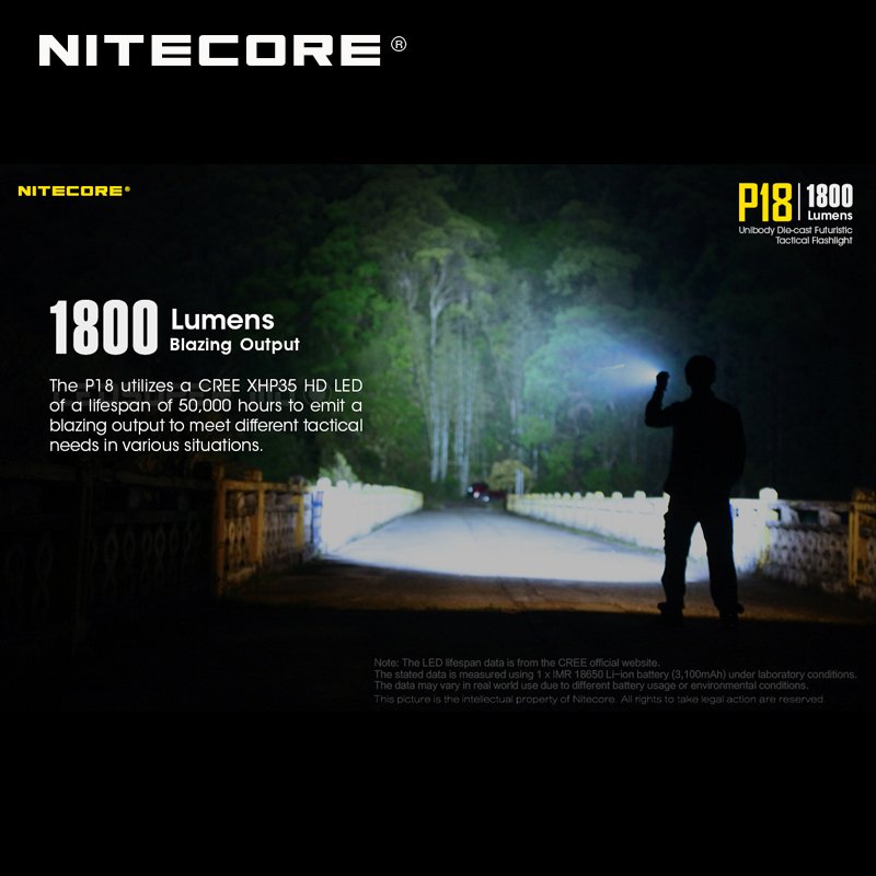 1800 Lumens Nitecore P18 Unibody Die case Futuristic CREE XHP35 HD LED Tactical Flashlight with Auxiliary Red Light - 3