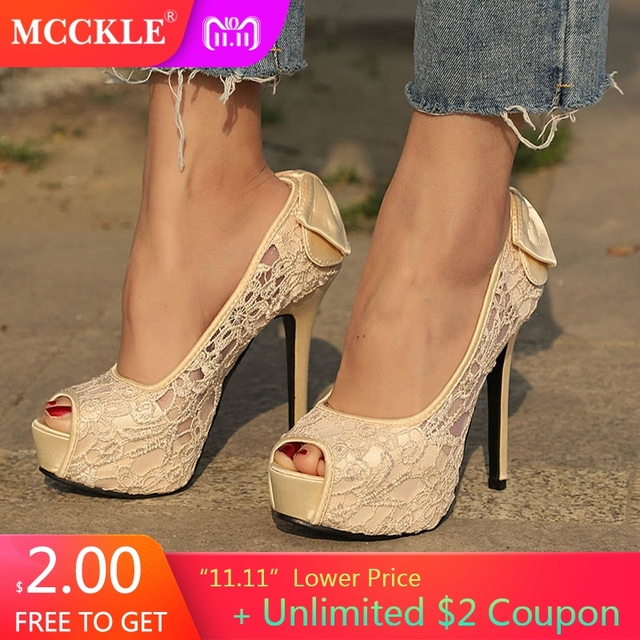 a6f30aeafea4 MCCKLE Women Plus Size Lace Bowtie Pumps Female Peep Toe Hollow Platform  High Heels Party Shoes Female Elegant Stiletto