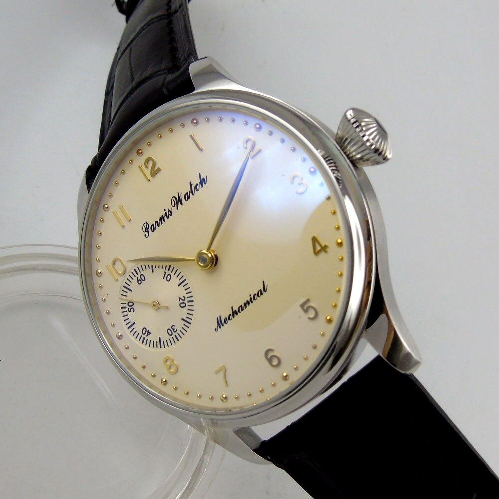 44mm Parnis cadran blanc cassé boîte en acier inoxydable 17 bijoux 6497 remontage à la main mécanique montre pour hommes