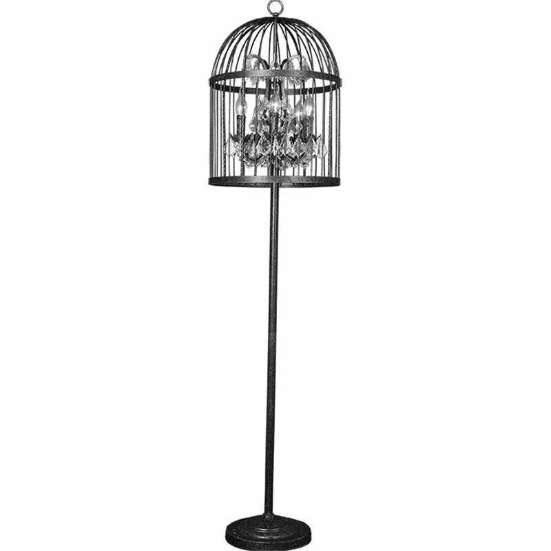 Американский Ретро Кристалл Черный цвет кованого железа клетка торшер гостиная столовая стоящая лампа