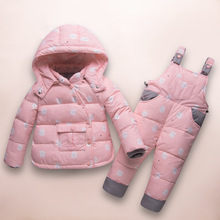 цена на 2019 Winter Children's Clothing Sets Russia Baby Girl Ski Suit Sets Boy Outdoor Warm Kids Down Coats Jackets+suspender Trousers