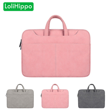 LoliHippo PU Leather Laptop Briefcase Universal Waterproof Notebook Bag Pink Inner Bag for Apple Macbook Dell Sony Lenovo 13 15