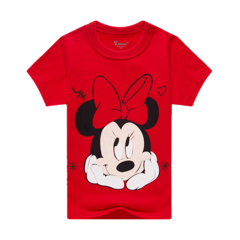 Girl Mouse T-Shirt Boy's Avengers Hero T Shirt  Minnie T-shirt Cute Girl Minnie Top Cotton Short-sleeved Twins Clothes