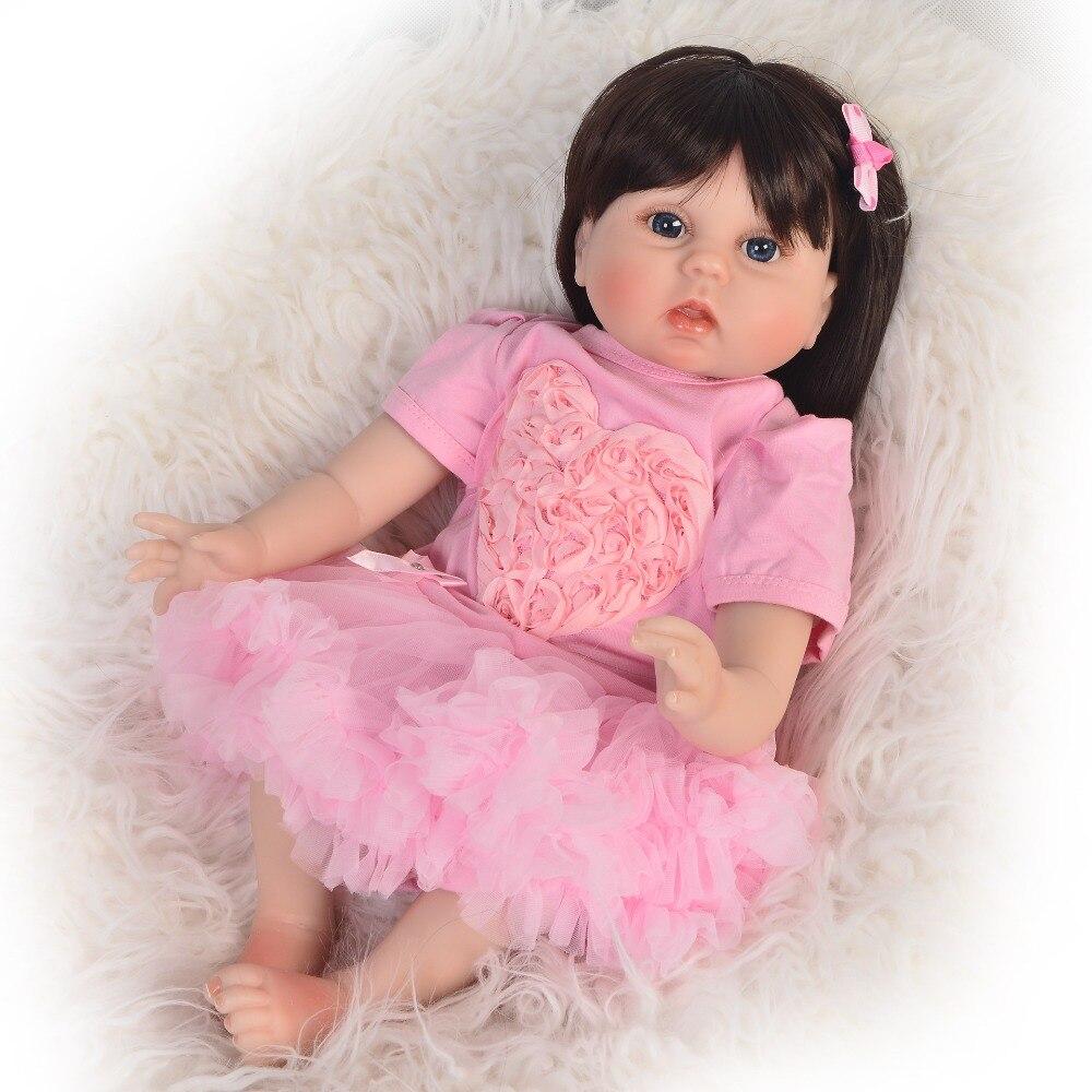 55 cm reborn longhair Silicone Reborn bébé poupée jouets réaliste réel toucher bébés comme vivant Bebe coucher jouer maison cadeau d'anniversaire