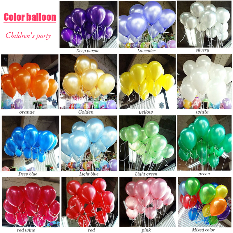 10pcs/lot Kids Birthday Balloons 10inch 1.5g Pearl Latex Red Pink Blue Gold Balloons Boy Girl Bridal Shower Wedding Party Ballon
