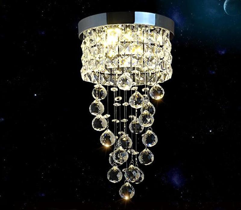 Moderne petit lustre en cristal éclairage de LED plafonnier pour allée lampe entrée placard lampe décorative D20cm livraison gratuite