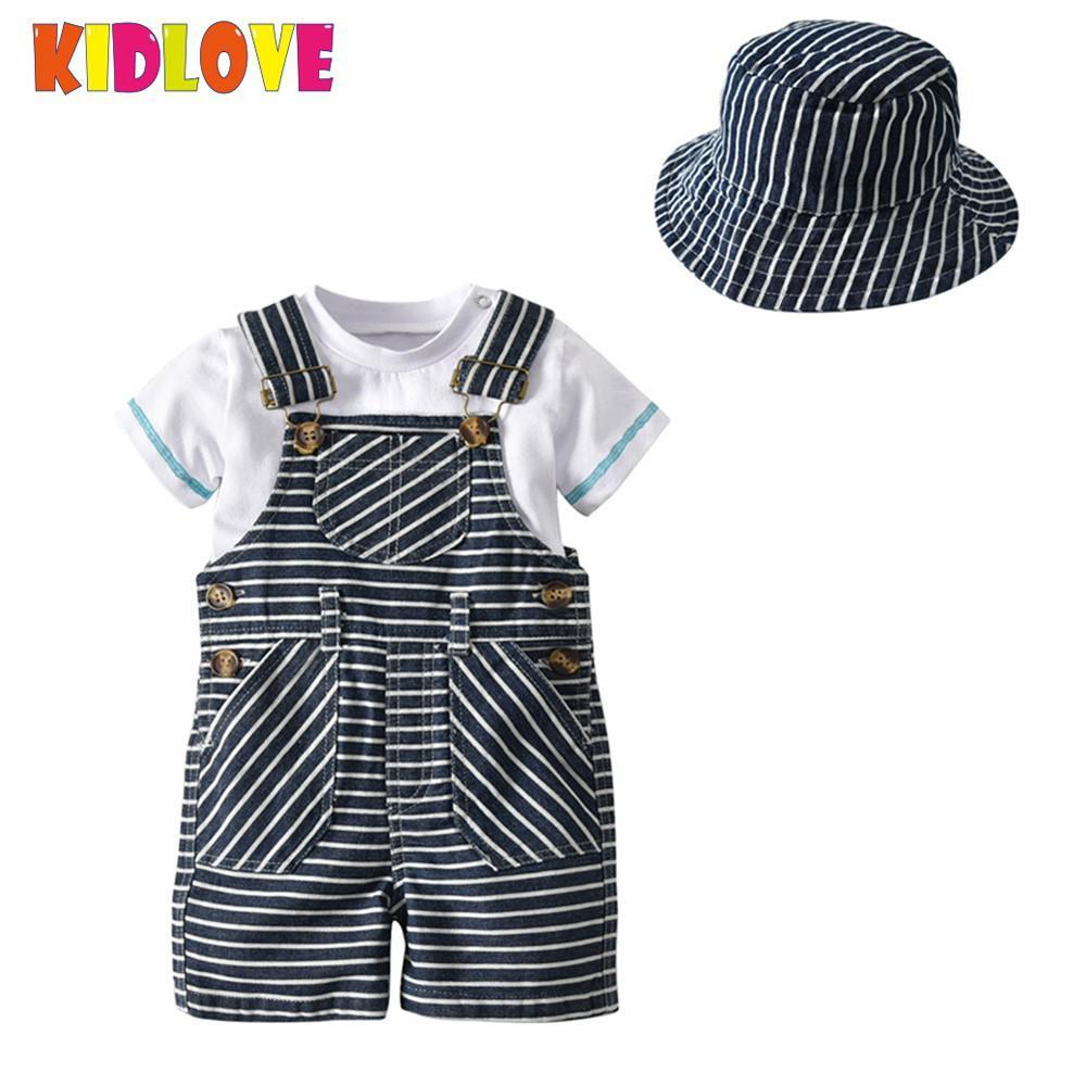 KIDLOVE 3PCS/Suit Baby Boys Sets Round Neck T-Shirt Striped Suspenders Shorts Formal Hat Gentleman Set 2018 Children Clothes