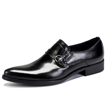QYFCIOUFU New Brand Slip On Mens Oxfords Buckle Genuine Leather Shoes High Quality Cow Leather Luxury Business Pointy Shoes