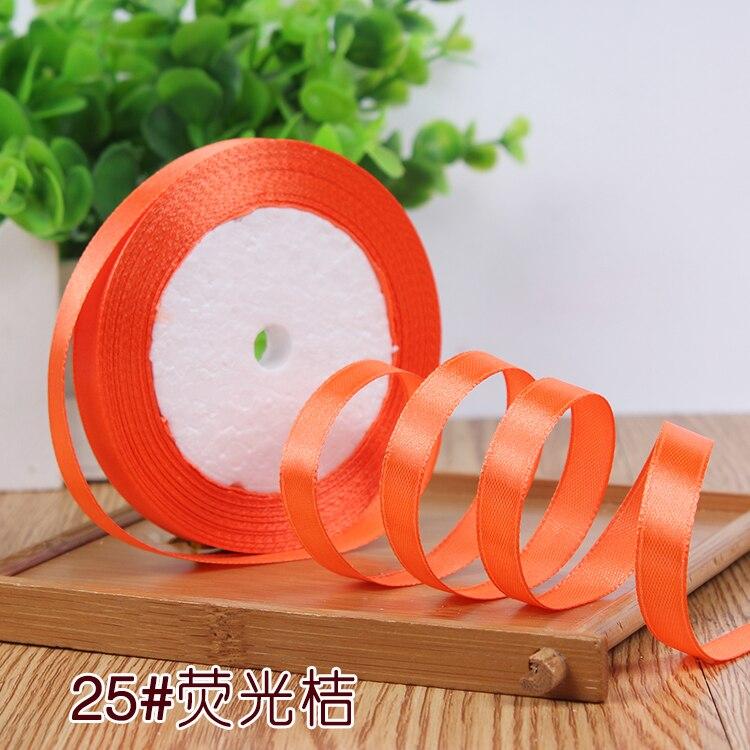 10 мм, 25 ярдов, односторонняя шелковая сатиновая лента, дешевая декоративная подарочная упаковка, Свадебные Рождественские ремесла, белые, розовые, красные, черные ленты - Цвет: Neon Orange