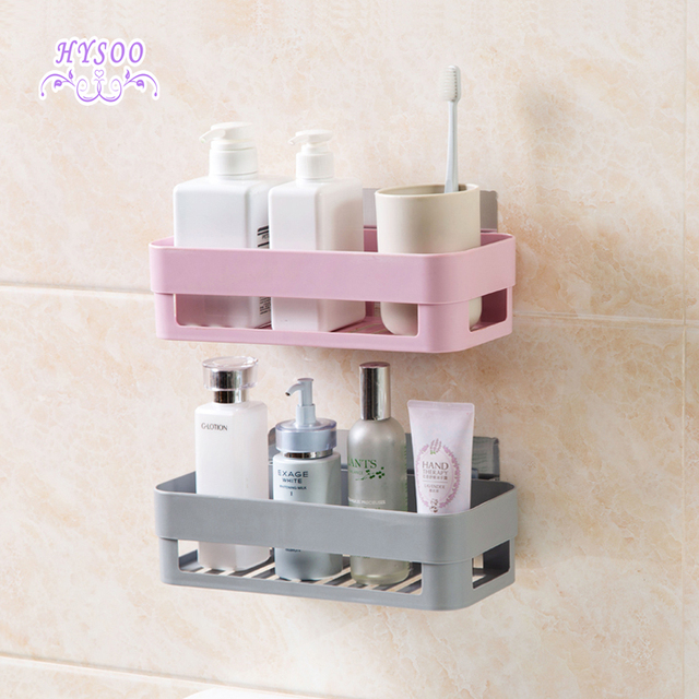 Japanese elegant sticking shelves bathroom plastic wall storage rack ...