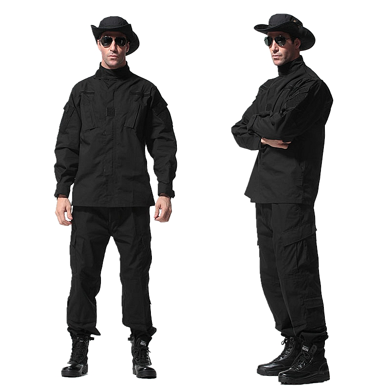 ФОТО 1 Set black tactical uniform jacket + pants army military clothes men women cargo pants uniform outdoor hunting ghillie suits