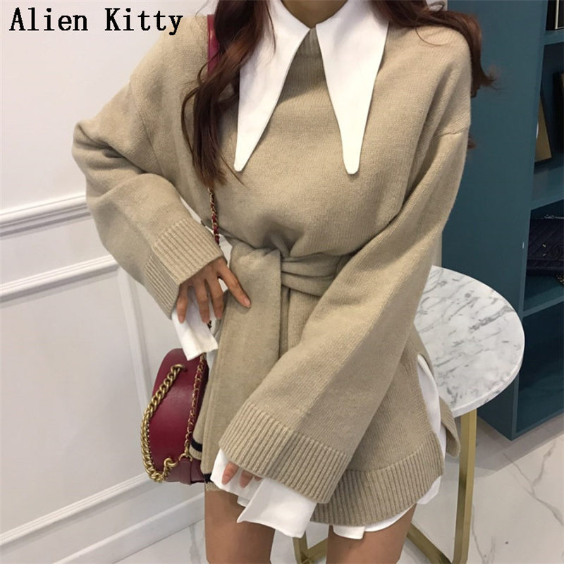 Objective Alien Kitty Stylish New Winter High Quality Warm Casual 2 Colors Sweater Outwear Simple Loose Solid Free Pullover Lazy Style