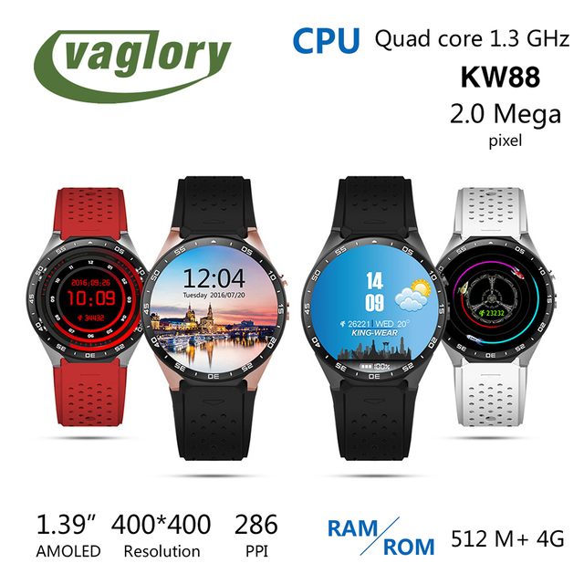 Vaglory KW88 Android 5.1 Smart Watch 1.39 дюймов Экран MTK6580 Smartwatch телефон Поддержка Bluetooth 3 Г WI-FI Nano SIM GPS Шагомер