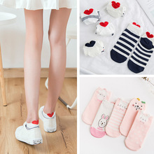5Pairs Women Cotton art Socks Pink Cute Cat Ankle Mixed Short Casual unicorn Animal 3D Ear Red Heart funny