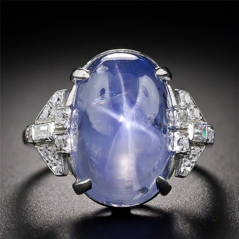 ZHIXUN New Arrival Large Blue Moonstone classic Rings ...