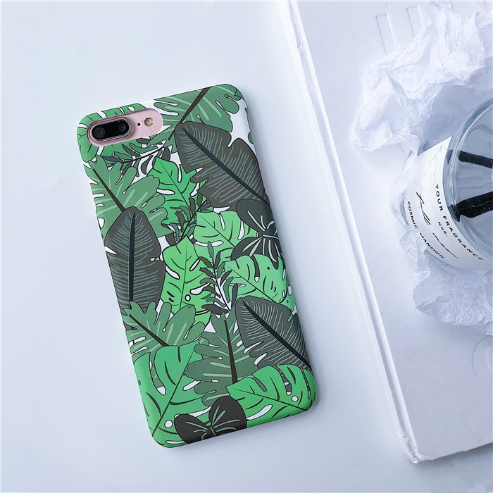 Summer Fern leaves hard phone Case For iphone X 6 6s 6plus 7 7Plus 8 8plus Scrub hard PC case back cover for iphone 7 case