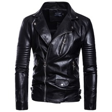 Leather Jacket Mens Black Large Size Motorcycle Pilot PU Fashion M-5XL-B029