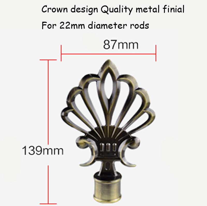 New Metal Quality Plated Antique Brass Process Crown Metal Curtain