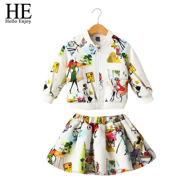 Hello Enjoy girls clothing sets autumn Children Clothing Kids Clothes Brand Girls Clothing Sport Suits 2 PCS ( Jacket + Skirt )