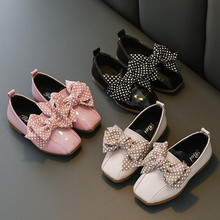 Autumn New Pink Beige Black Kids Shoes Girls bow-knot Princess Shoes For Wedding party Girls Leather Shoes For student 3-15T rose pink red orange children princess shoes baby girls shoes kids bows rhinestone girls leather shoes kids party shoes 3 15t