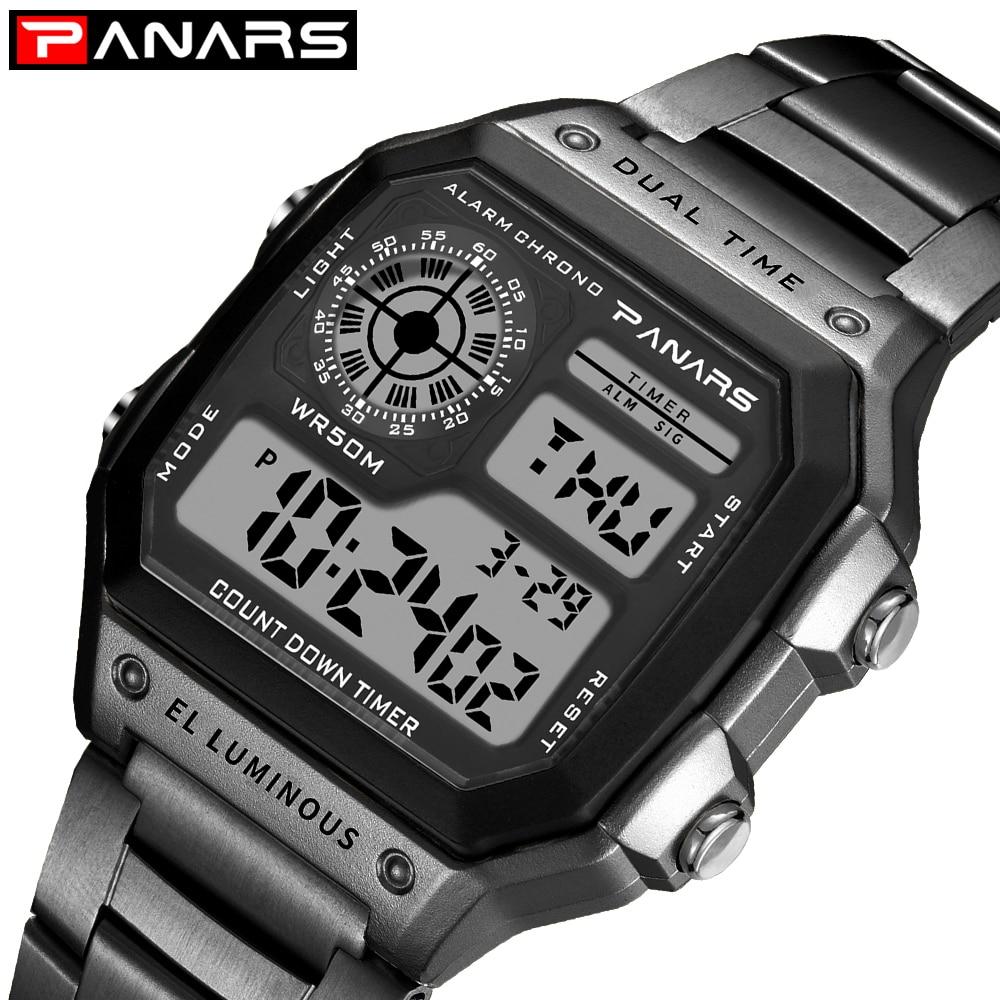 PANARS Digital Wristwatches G-Style Stainless-Steel Count-Down Clock Relogio Man Sport