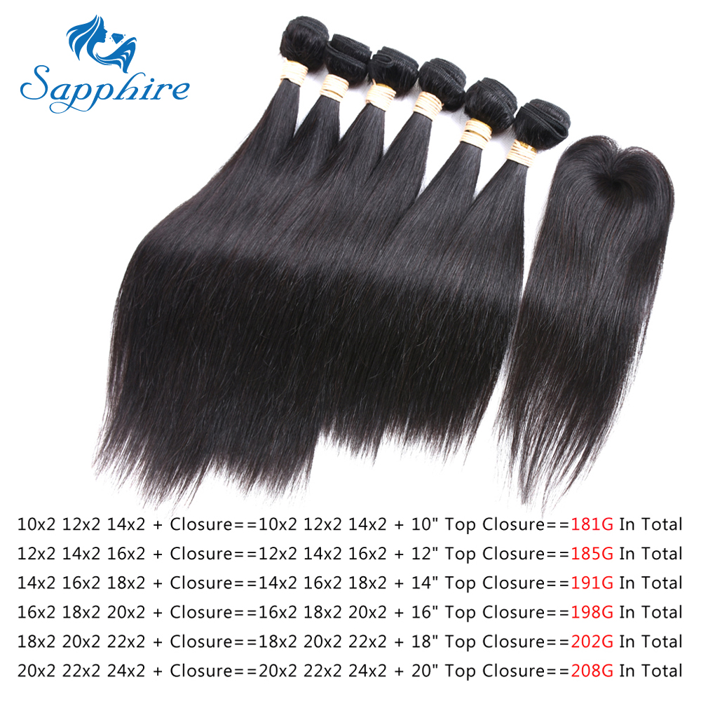 Sapphire Straight Remy Human Hair Bundles With Top Lace Closure 1B Color For Hair Salon High
