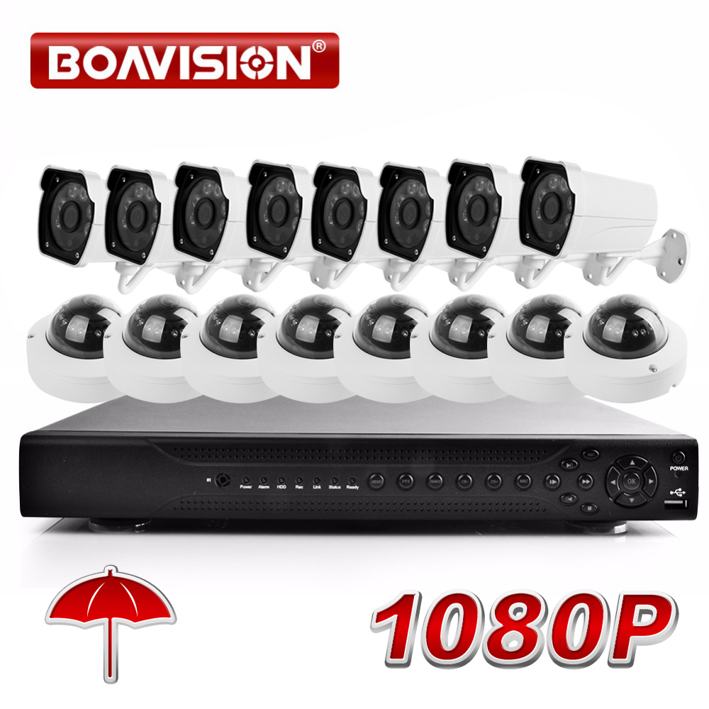 Secuity Camera System 1080P 16CH AHD CCTV DVR Security System KIT With Bullet +Outdoor IR Dome AHD Camera 2MP Surveillance Kits цена