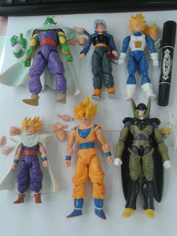 6pcs/set Dragon Ball Z Goku Vegeta Cell Action Figure Can Change Face Hnad PVC Collection figures toys christmas gift brinquedos for kia carnival car driving video recorder dvr mini control app wifi camera black box registrator dash cam original style