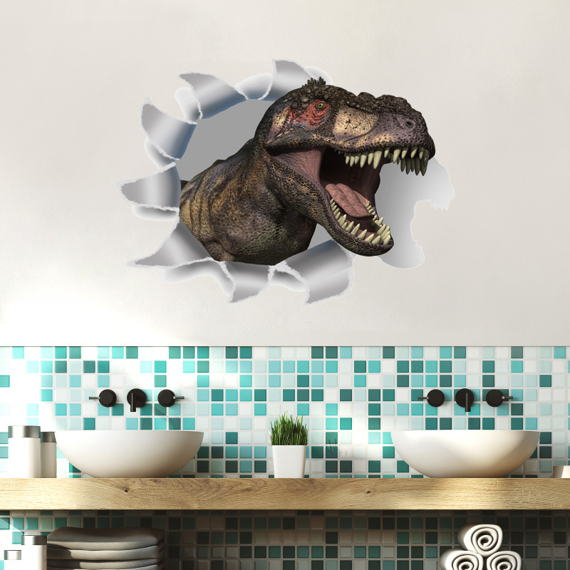 % Vinyl 3D Dinosaurs Wall Stickers Kids room home Decoration window Wall Decals Poster Wall paper mural Refrigerator toilet