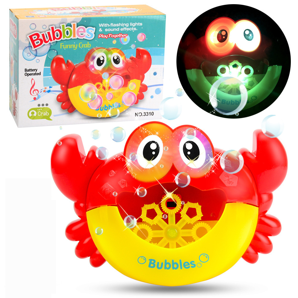 Outdoor Bubble Machine Blower Gun Frog Crabs Baby Kids Bath Maker Swimming Bathtub Soap Water Toys For Children With Music