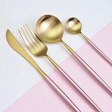 Hot Sale 4 Pcs/Set Rose Gold Dinnerware Set 304 Stainless Steel Western Cutlery Set Kitchen Food Tableware Dinner Set