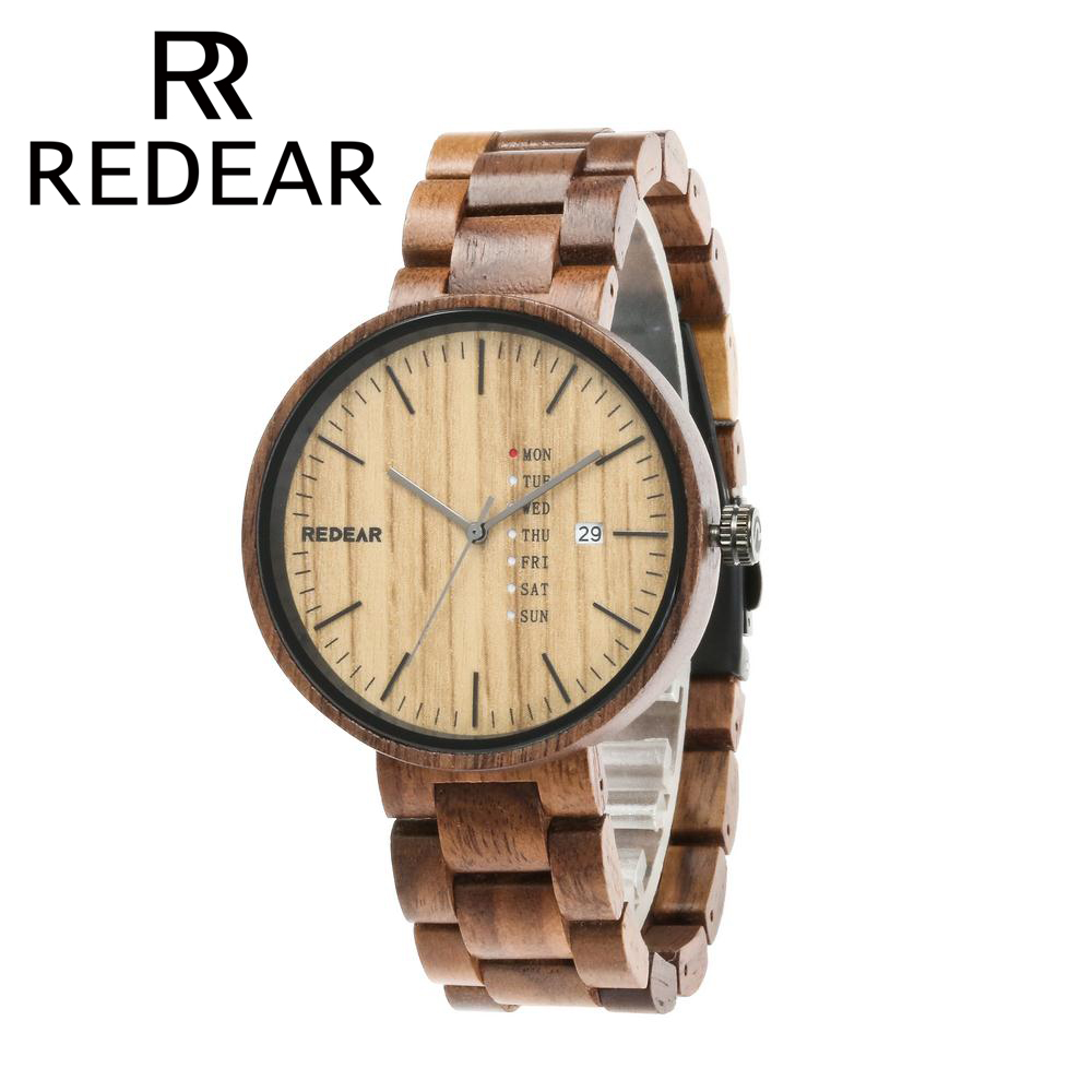 REDEAR Wood Watch with Date Display Mens Watches Top Brand Luxury Natural Wooden Watches for Men Quartz Wristwatches