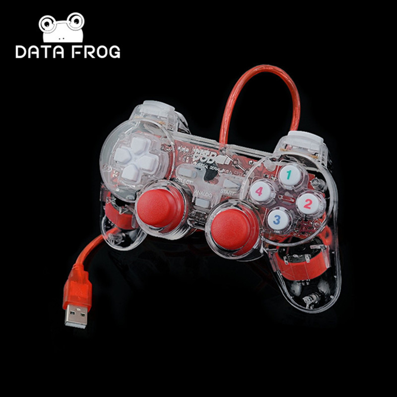 3 colores transparentes LED con cable USB Gamepad doble vibración Joystick controlador de juegos Joypad para PC portátil para Win7 / 10 / XP claro