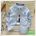 2016 la primavera y el otoño clothing hijo varón 100% algodón de la raya camisa niño camisa de manga larga infantil niños top