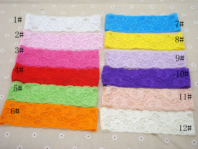 20pcslot Promotion 2 Wide Elastic Lace Headband Kids Girls Diy
