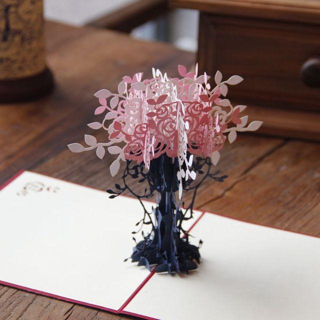 5pcs handmade creative chinese kirigami origami 3d pop up greeting 5pcs handmade creative chinese kirigami origami 3d pop up greeting cards with flower tree design mightylinksfo