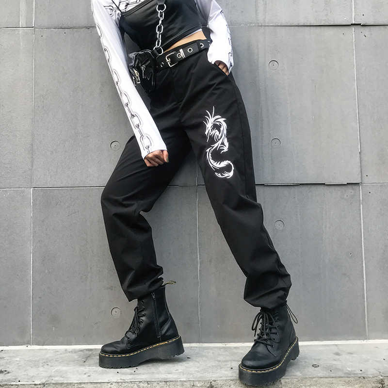 fef00fbd8 ... 7Mang 2018 Embroidery Dragon Black Harajuku Pants Chinese Style Trousers  High Waist Trousers Women Hiphop Casual ...