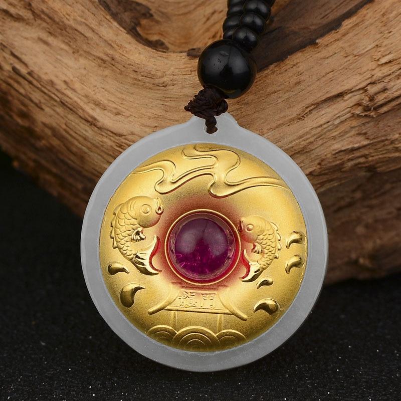 Jade Pendant High Quality Unisex Best Gift Good Luck Jade Necklace For Men Women Hetian buddha pendant necklace for men jade necklace for men gold jade good luck gold pendant buddha necklace
