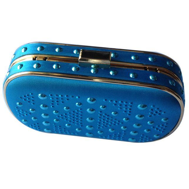 ФОТО Ladies Navy Blue  Satin Box Evening HandBags