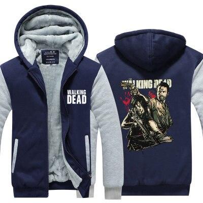 Американский ТВ show Walking Dead Косплей Аниме балахон с капюшоном толстые кардиган на молнии кофты зима Куртки и Пальто и пуховики теплые