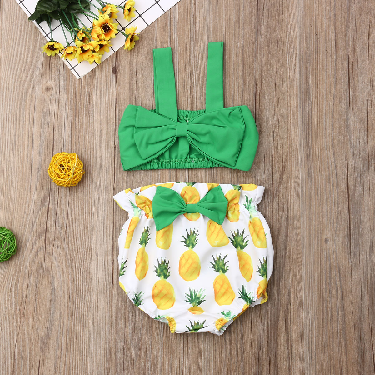 Pudcoco Newborn Baby Girl Clothes Bowknot Strap Vest Crop Tops Pineapple Print Short Pants 2Pcs Outfits Clothes Summer