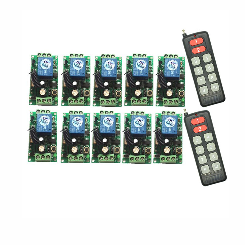 DC 9V 12V 24V <font><b>10</b></font> CH 10CH RF Wireless Remote Control Switch System,10CH Transmitter + Receiver,315 / 433 <font><b>MHz</b></font> image