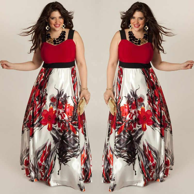 חדש מכירה לוהטת בתוספת גודל פרחוני נשים קיץ Boho מקסי ארוך שמלה אדום/ירוק ללא שרוולים חוף מסיבת הערב קיצי