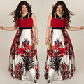 Новинка, Лидер продаж, женское летнее длинное платье-макси в стиле бохо с цветочным рисунком, красное/зеленое пляжное вечернее платье без ру...