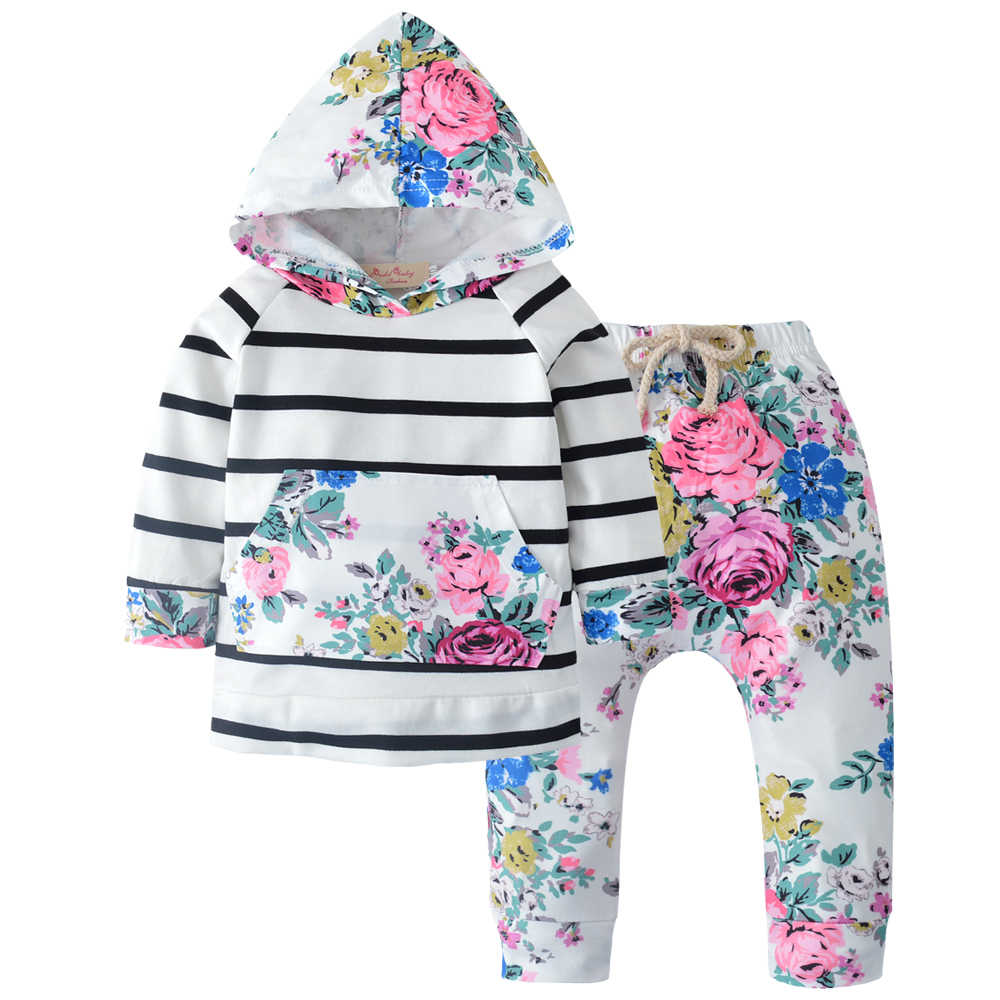 ac36ded1997c7 2pcs Newborn Baby Girls Clothes Set Autumn Winter Cotton Hooded T-shirt  Tops Long Sleeve