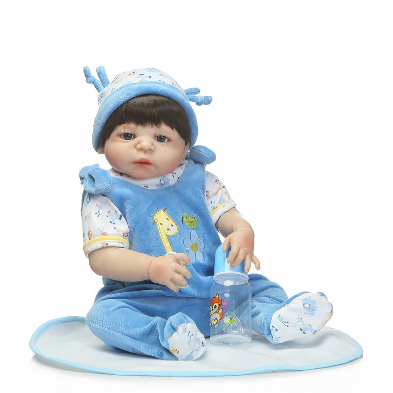 Hot Sale Victoria Reborn Baby Boy Dolls 22 Lifelike Full Vinyl Body Reborn Doll with Dark Brown Hair Blue Eyes Girls Toy Dolls